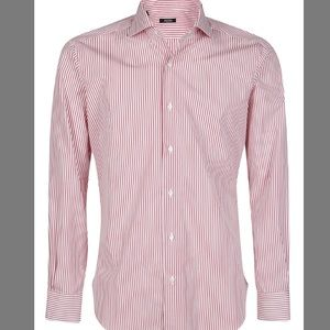 Barba Napoli Striped Shirt 39 Red White